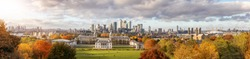 The new skyline of London at fall time, seen from Greenwich park