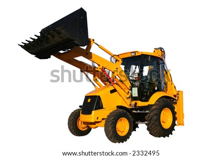 The new universal bulldozer with the lifted bucket on a white background, Isolated
