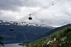 The new Voss Gondol and the Voss valley. It was opened in July 2019 and is the largest and most modern mountain gondola in Northern-Europe.