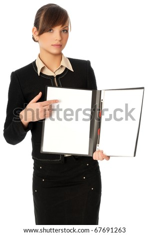 The new worker holds the white blank paper in the folder