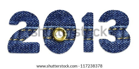 The New Year 2013 - blue jeans fonts, isolated over white background