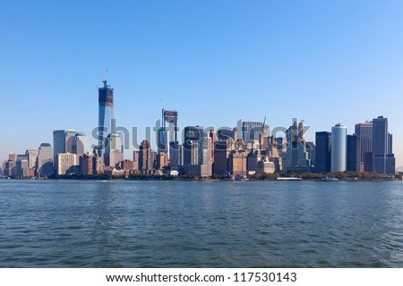 The New York City Downtown skyline at the afternoon - stock photo