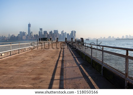 The New York City Downtown skyline at the afternoon from bridge