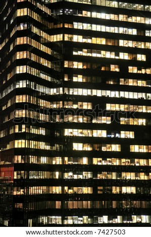 The New York City high-rise office building at night