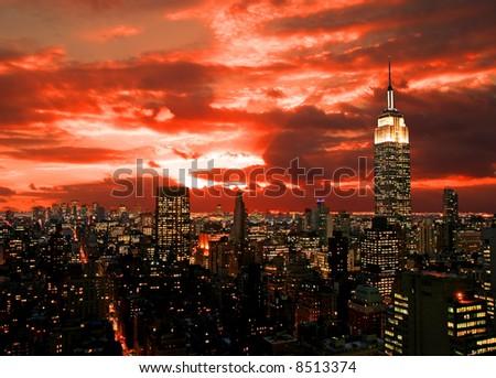 The New York City midtown skyline, USA