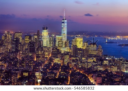 The New York City skyline at afternoon w the Freedom tower #546585832