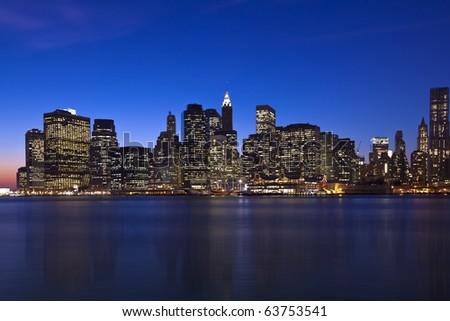 The New York City skyline at twilight