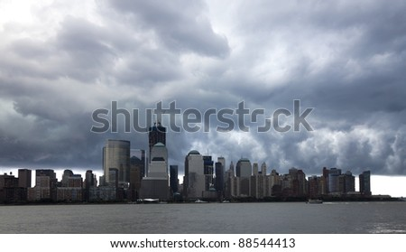 The New York City skyline before the storm - stock photo