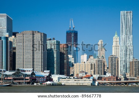 The New York City skyline w the Freedom tower
