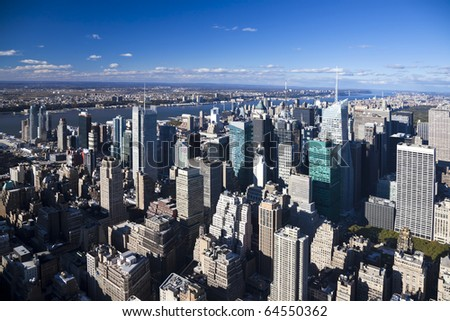 The New York City Uptown panorama with Central park and George Washington bridge #64550362