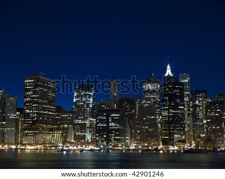 The New York skyline at twilight. View from Staten Island.