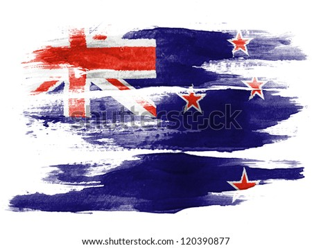 The New Zealand flag painted on  white paper with watercolor