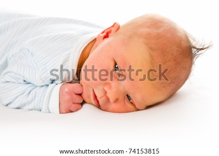 the newborn baby on white background