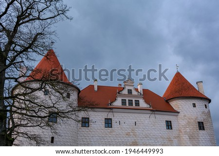 The newest part of Bauska Castle, the residence for the duke of Courland, was built in the late 16th century and its walls were finished with quadros in sgraffito technique. Foto stock ©