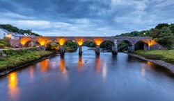 The Newport Viaduct in County Mayo close to Westport, Ireland at Night