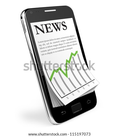 The News. Black Smartphone with open News. Isolated.