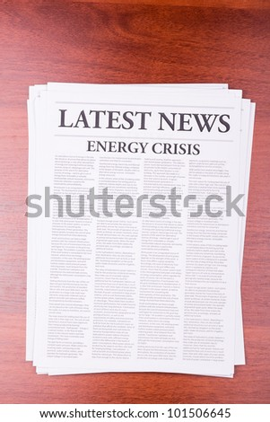 The newspaper LATEST NEWS with the headline ENERGY CRISIS