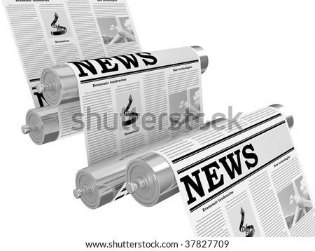 The newspaper on the conveyor in the course of the press