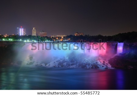 The Niagara Falls are voluminous waterfalls on the Niagara River, straddling the international border between the Canadian province of Ontario and the U.S. state of New York.