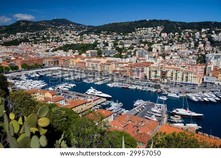 The Nice Marina as seen from the top of Le Chateau. - stock photo