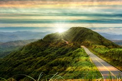 The nice road with sunrise with clouds and beautiful color
