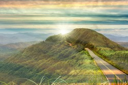 THe nice road with sunrise with colud and beautiful color