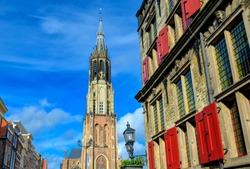 The Nieuwe Kerk (new church) in the city of Delft in The Netherlands on a sunny day.