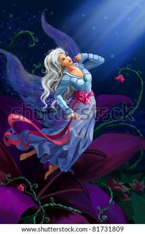 Stock Photo The night fairy flying to the moon against starry sky