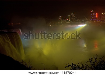 The night image of Niagara Falls photographed from an American side