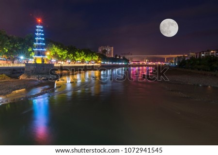 The night of the night of the Longchuan River