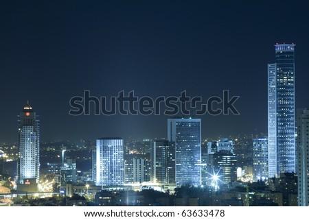 The night Ramat Gan city - View of Ramat Gan at night. - stock photo