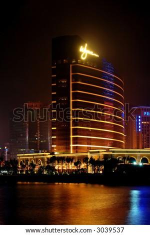 The night scene of casino Wynn in Macau