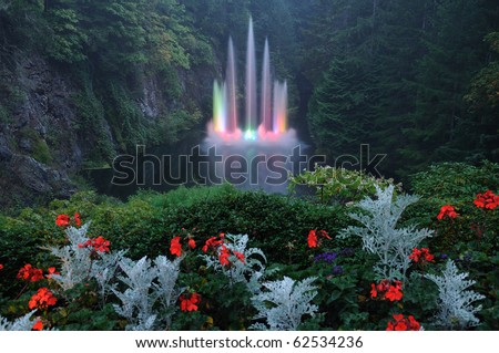 The night scene of ross fountain at butchart gardens, victoria, british columbia, canada