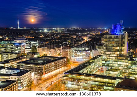 The night skyline of Hannover, Germany