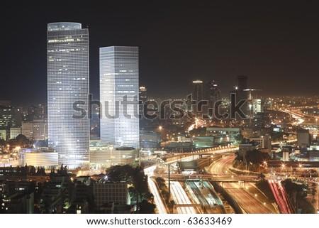 The night Tel Aviv city - View of Tel Aviv at night. - stock photo