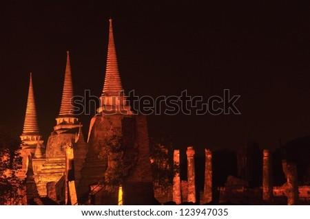 The Night time at Wat Phra Sri Sanphet Temple is world heritage Ayutthaya Thailand