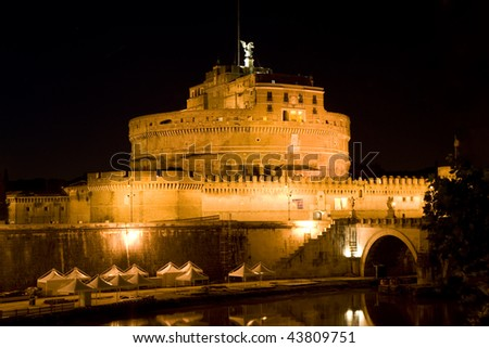 The night view of Castle Saint Angel in Rome, Italy - stock photo