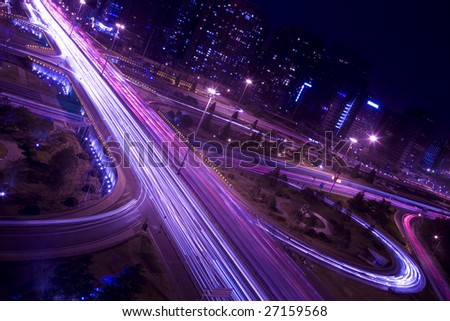 the night view of flyover in beijing
