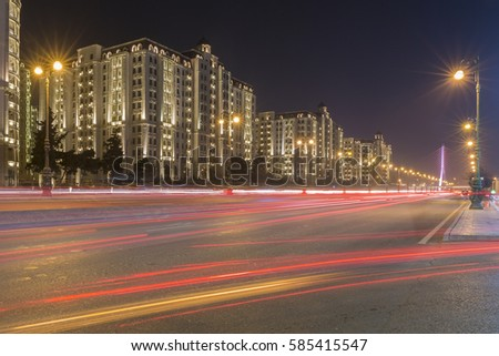The night view of Heydar Aliev avenue in Baku, Azerbaijan, light trails of road trafic