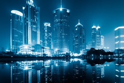 the night view of the lujiazui financial centre in shanghai china.