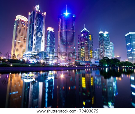 the night view of the lujiazui financial centre in shanghai china. #79403875