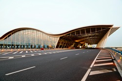 the night view of the pudong airport shanghai china.