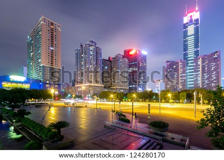 the night view of the shanghai china.