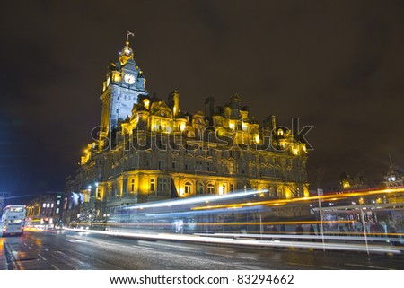 The night view of the street in Edinburgh city, Scotland
