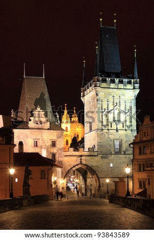 The night View on Prague Lesser Town with St. Nicholas' Cathedral and  Bridge Tower, Czech Republic