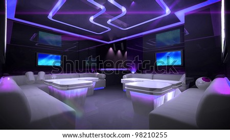 the Nightclub interior design with the cyber style theme - stock photo