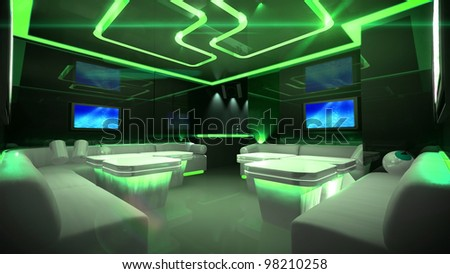 the Nightclub interior design with the cyber style theme