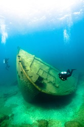 The Nordmeer, a 470-foot cargo freighter, sank in 1966 on Lake Huron after running aground near Thunder Bay Island.