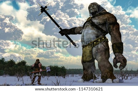 The Norse God Thor, hammer in hand, faces off against a massive frost giant on a snowy plain. 3D Rendering
