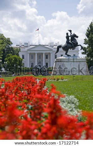 The north facade of the White House seen from Lafayette Park. The equestrian statue of President Andrew Jackson was erected in 1853.